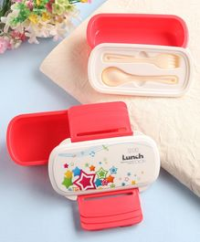 2 Layer Lunch Box with Spoon & Fork Star Print - Red
