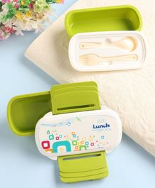 2 Layer Lunch Box with Spoon & Fork Music Print - Green