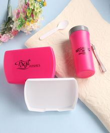 2 Layered Lunch Box With Bottle & Spoon - Pink