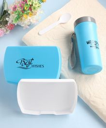 2 Layered Lunch Box With Bottle & Spoon- Blue