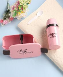 Lunch Box With Water Bottle & Spoon - Peach