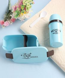Lunch Box With Water Bottle & Spoon - Blue