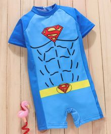 Mom's Love Half Sleeves Legged Swimsuit Superman Print - Blue