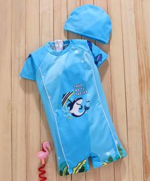 Mom's Love Half Sleeves Legged Swimsuit with Cap Shark Print - Blue