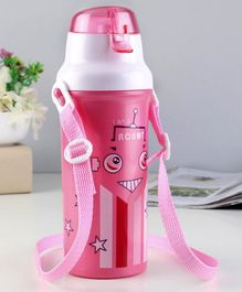 Sipper Bottle With Adjustable Straps Robot Print Pink - 550 ml
