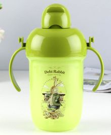 Water Bottle With Pop Up Straw Green - 400 ml