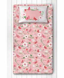 Silverlinen Floral Print Single Bedsheet with One Pillow Cover - Pink