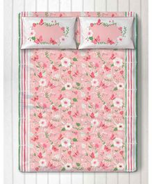 Silverlinen Floral Print Double Bedsheet with Two Pillow Cover - Pink