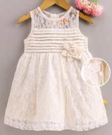 Yellow Duck Flower Lacey Sleeveless Dress - Off White