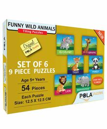 Pola Puzzles Funny Wild Animals Set Of 6 - 9 Pieces each