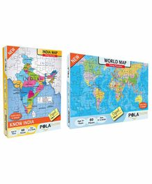 Pola Puzzles India & World Maps Jigsaw Set of 2 - 60 Pieces Each