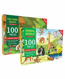 Pola Puzzles The Furry Bunch & Animal World  Jigsaw Set of 2 - 100 Pieces Each