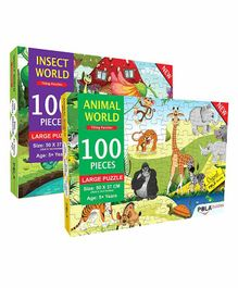 Pola Puzzles The Furry Bunch & Insect World Animals Jigsaw Set of 2 - 100 Pieces Each