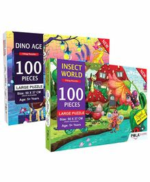 Pola Puzzles Dinosaur & Insect World  Jigsaw Set of 2 - 100 Pieces Each