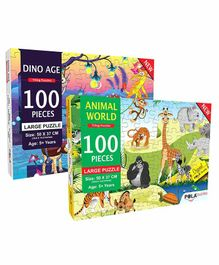 Pola Puzzles Dino Age & Animal World Jigsaw Set of 2 - 100 Pieces Each