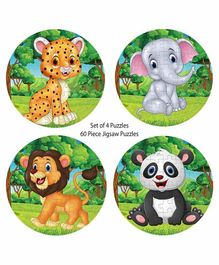 Pola Puzzles Circular Animal Jigsaw Multicolor Set of 4 - 60 Pieces Each