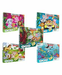 Pola Puzzles Jungle World Party Aqua Buddies Farm Friends & Safari Jigsaw Pack of 5 - 60 Pieces Each