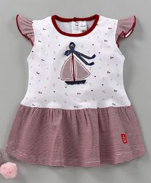 Olio Kids Cap Sleeves Frock Boat Embroidered - Red