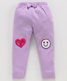 Mom's Love Leggings Heart Embriodered - Purple