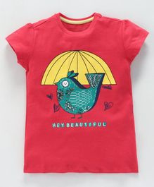 ParrotCrow Bird Print Short Sleeves Tee - Red