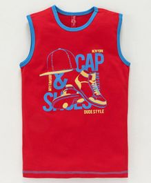 ParrotCrow Cap And Shoe Graphic Print Sleeveless Tee - Red