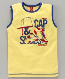 ParrotCrow Cap And Shoe Graphic Print Sleeveless Tee - Yellow
