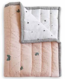 The White Cradle Organic Cotton Reversible Quilt Butterfly Print - White Peach