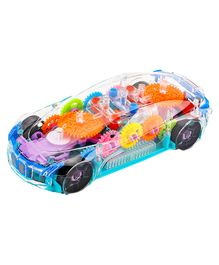 Fiddlerz 360 Degree Transparent Bump N Go Toy Car with 3D Flashing Lights - Multicolour