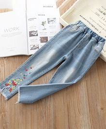 Pre Order - Awabox Floral Embroidered Full Length Jeans - Light Blue