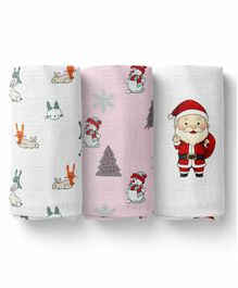 Mom's Home Cotton Muslin Swaddle Wrapper Santa & Bunny Print Pack of 3 - White Pink