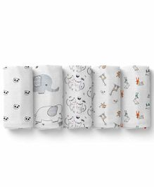 Mom's Home Cotton Soft Baby Muslin Swaddle Multi Print Pack of 5 - Multicolor