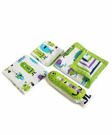 Silverlinen Silly Monsters Design 4 Piece Bedding Set - Green White