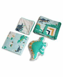 Silverlinen Dinosaur Design 4 Piece Bedding Set - Green Blue