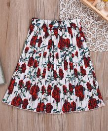 Awabox Flower Print Knee Length Skirt - Red