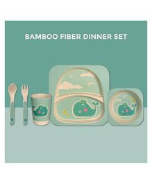 Polka Tots Bamboo Fiber Whale Design Kids Crockery Dining Set Pack Of 5 - Green