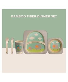 Polka Tots Bamboo Fiber Elephant Design Kids Crockery Dining Set Pack Of 5 - Multicolor