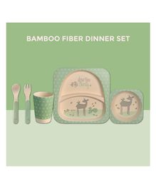 Polka Tots Bamboo Fiber Deer Design Kids Crockery Dining Set Pack Of 5 - Green