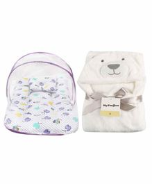 My NewBorn Mattress With Mosquito Net & Hooded Blanket - Purple & Cream