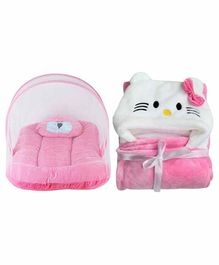 My NewBorn Mattress Set With Mosquito Net & Hooded Blanket Kitty Design - Pink