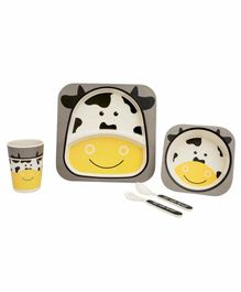 Small Wonder Bamboo Fibre Dining Set Cow Grey Yellow - Pack of 5