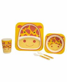 Small Wonder Bamboo Fibre Dining Set Giraffe Orange- Pack of 5