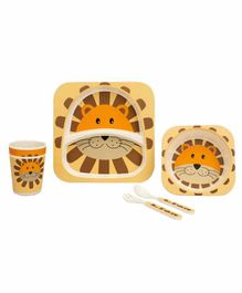Small Wonder Bamboo Fibre Dining Set Lion Orange Brown- Pack of 5