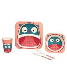 Small Wonder Bamboo Fibre Dining Set Owl Theme Pink - Pack of 5