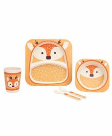 Small Wonder Bamboo Fibre Dining Set Fox Print Orange - Pack of 5