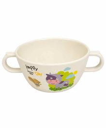 Small Wonder Bowl With Twin Handle Cow Print White - 280 ml