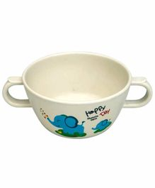 Small Wonder Bowl With Twin Handle Elephant Print White - 280 ml