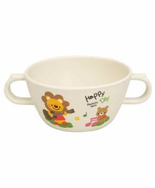 Small Wonder Bowl With Twin Handle Lion Print White - 280 ml