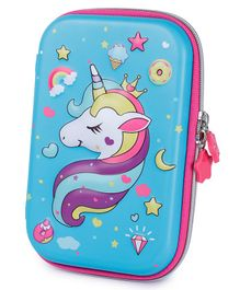 Webby Unicorn Printed Hard Top EVA Pencil Pouch - Blue