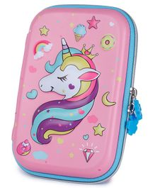 Webby Unicorn Printed Hard Top EVA Pencil Pouch - Pink