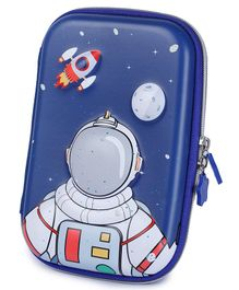 Webby Astronaut Printed Hard Top EVA Pencil Pouch - Blue